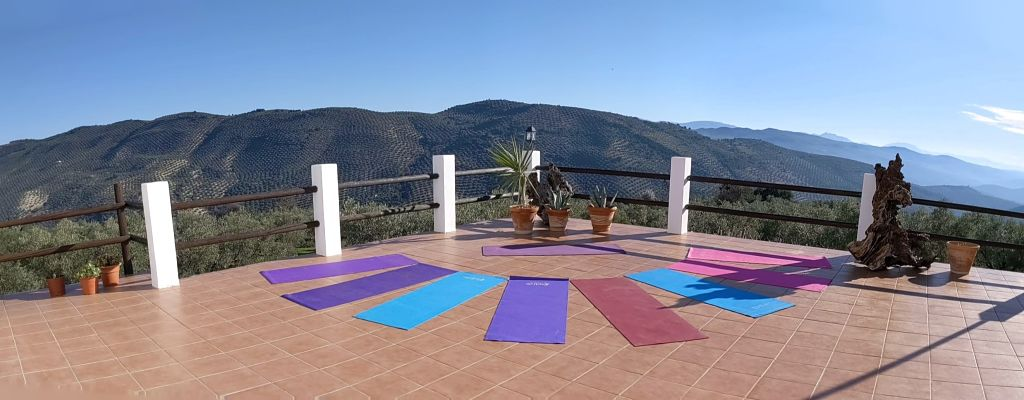 yoga mats on terrace panorama