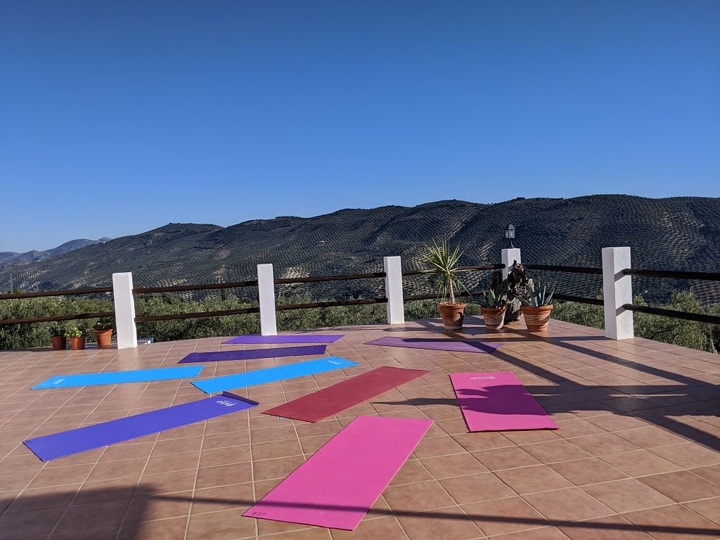 yoga mats on terrace