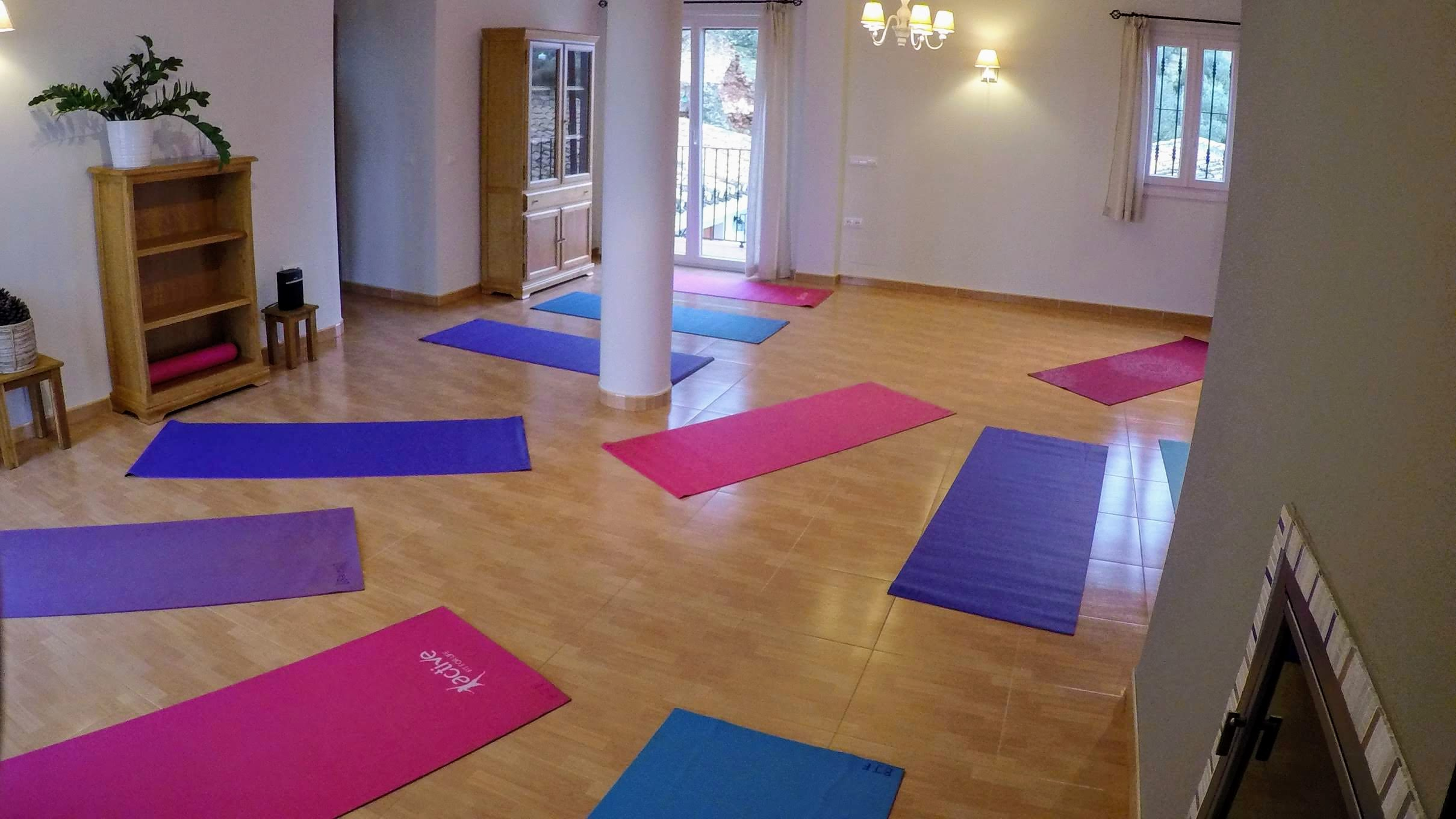 yoga room empty with mats